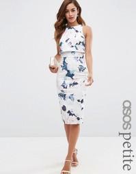 Платье-футляр миди с укороченным топом и цветочным принтом ASOS PETITE