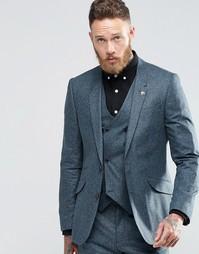 Пиджак узкого кроя из шелковой смеси ASOS - Синий