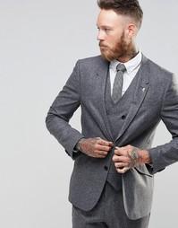 Шелковый пиджак узкого кроя ASOS - Серый