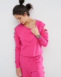Свитшот с прорехами и рукавами реглан ASOS LOUNGE - Hot pink