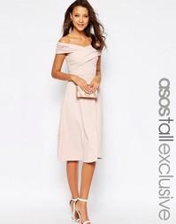 Приталенное платье с открытыми плечами ASOS TALL