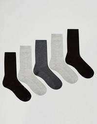 5 пар монохромных носков из вафельного трикотажа ASOS - Monochrome