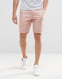 Розовые зауженные шорты чиносы ASOS - Розовый махагони