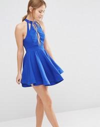 Платье мини со шнуровкой и короткой расклешенной юбкой Ginger Fizz
