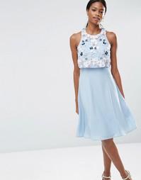 Платье миди с укороченным топом и цветочной отделкой ASOS