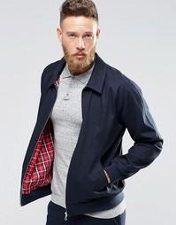 Темно-синяя куртка Харрингтон из хлопковой ткани ASOS - Темно-синий