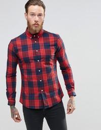 Красная клетчатая рубашка суперзауженного кроя с длинными рукавами ASO Asos