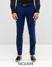 Стретчевые суперзауженные брюки с отворотами Only & Sons - Синий
