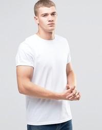 Белая футболка с круглым вырезом и отворотами на рукавах ASOS - Белый