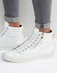 Кожаные кроссовки с петелькой Diesel - Белый