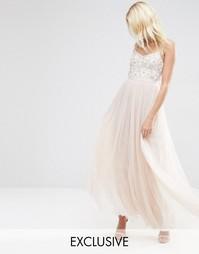 Тюлевое платье макси с вышивкой на груди Needle & Thread