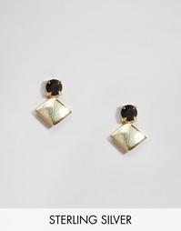 Серьги из позолоченного серебра с камнем ASOS - Золотой