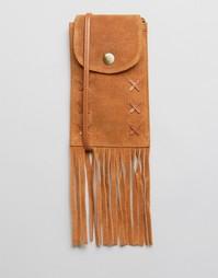 Замшевая сумка-кошелек с бахромой ASOS - Рыжий