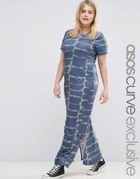 Платье макси с принтом тай-дай ASOS CURVE