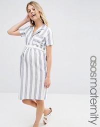 Льняное платье-рубашка в полоску ASOS Maternity