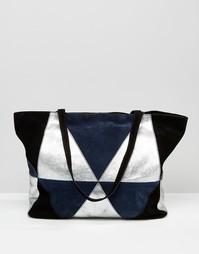 Замшевая сумка-шоппер в стиле пэчворк ASOS - Синий