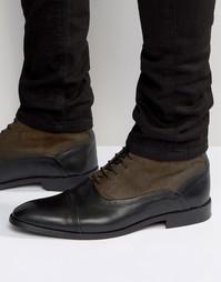Ботинки из кожи и замши на шнуровке ASOS - Хаки