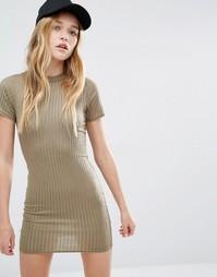 Облегающее платье‑футболка в рубчик Daisy Street - Хаки