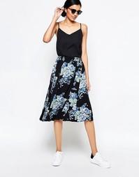 Юбка миди с цветочным принтом Ganni - Синий цветок