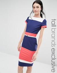 Платье-футляр колор блок с короткими рукавами и ремнем Paper Dolls Tal