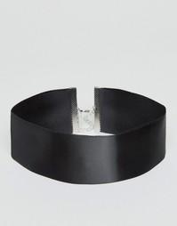 Широкое атласное базовое ожерелье-чокер ASOS - Черный