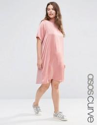 Платье-футболка с атласной вставкой спереди ASOS CURVE - Розовый