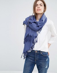 Темно-синий oversize‑шарф с кисточками Becksondergaard - Темно-синий