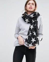 Черно-белый шарф со звездами Becksondergaard - Черный