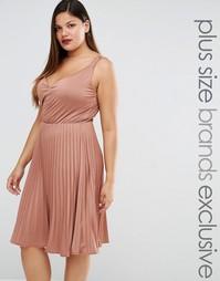 Плиссированное платье миди Truly You - Розовый