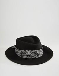 Шляпа с плоской круглой тульей и загнутыми кверху широкими полями ASOS