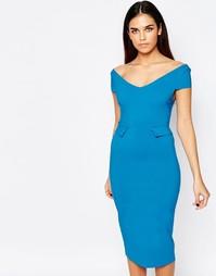 Платье миди с баской Vesper Phoebe - Синий