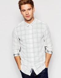 Рубашка с изнаночным принтом в клетку Selected Homme - Белый