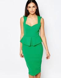 Платье миди с баской и цветочным принтом Vesper - Зеленый