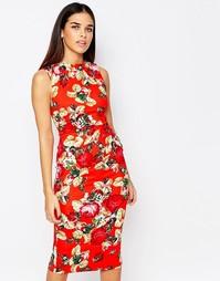 Фиолетовое платье миди с принтом Vesper - Красный