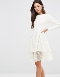 Платье с кружевной кромкой Traffic People Hepburn - Кремовый