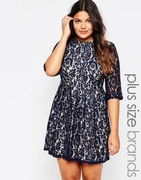 Кружевное короткое приталенное платье Praslin Plus - Темно-синий