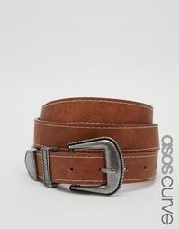 Ремень для джинсов с заклепками и строчкой ASOS CURVE - Рыжий