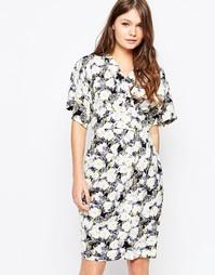 Темное платье с цветочным принтом и рукавами-кимоно Closet - Мульти