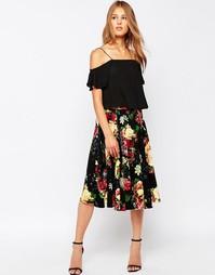 Расклешенная юбка миди с цветочным принтом Closet - Черный