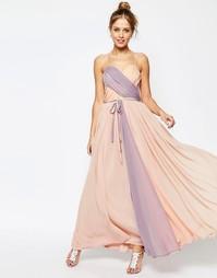Платье макси в стиле колор-блок на бретельках ASOS SALON - Мульти