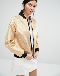 Helene Berman Bomber Jacket With Gold Metallic Zebra Stripes