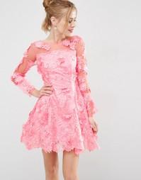 Короткое приталенное платье из кружева с цветами 3D от ASOS SALON