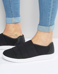 Черные кроссовки с эластичной вставкой ASOS - Черный