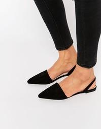 Балетки с ремешком через пятку и острым носком ASOS LAINEY - Черный