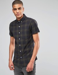 Облегающая рубашка с короткими рукавами в клетку цвета хаки ASOS