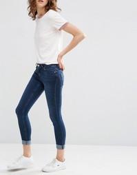 Темные облегающие джинсы скинни ASOS LISBON - Темно-выбеленный синий
