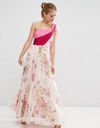 Платье макси премиум на одно плечо в стиле колор блок ASOS SALON