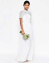 Платье макси с высоким воротом и декоративной отделкой ASOS BRIDAL