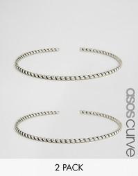 Набор из двух браслетов‑манжет ASOS CURVE - Серебряный
