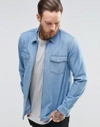Джинсовая рубашка навыпуск с длинными рукавами и молнией ASOS - Синий